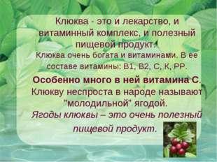 Клюква - это и лекарство, и витаминный комплекс, и полезный пищевой продукт.