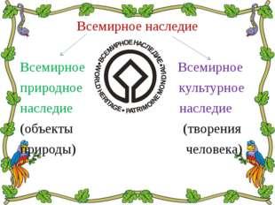 Всемирное наследие Всемирное Всемирное природное культурное наследие наследие