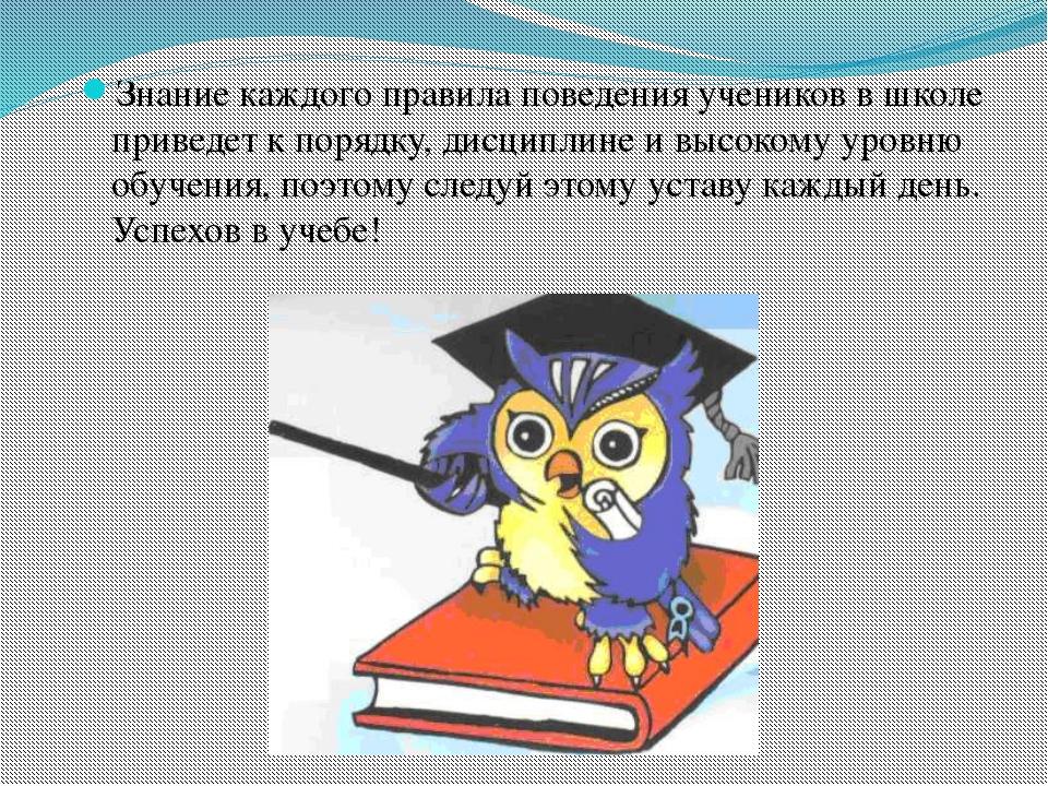 Знание каждого правила поведения учеников в школе приведет к порядку, дисципл...