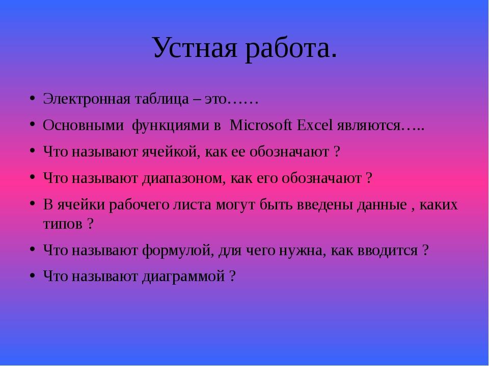 Устная работа. Электронная таблица – это…… Основными функциями в Microsoft Ex...