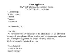 Home Appliances 10, Vozdvizhensky str, Moscow, Russia Tel. 9453589 Fax. 94535