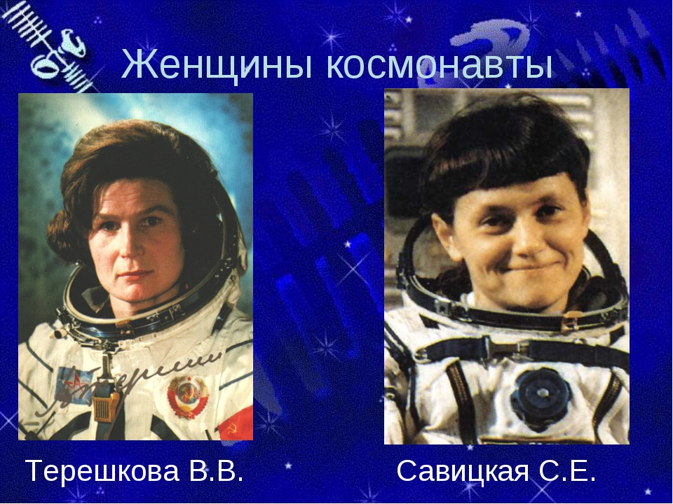 Женщины космонавты Терешкова В.В. Савицкая С.Е.