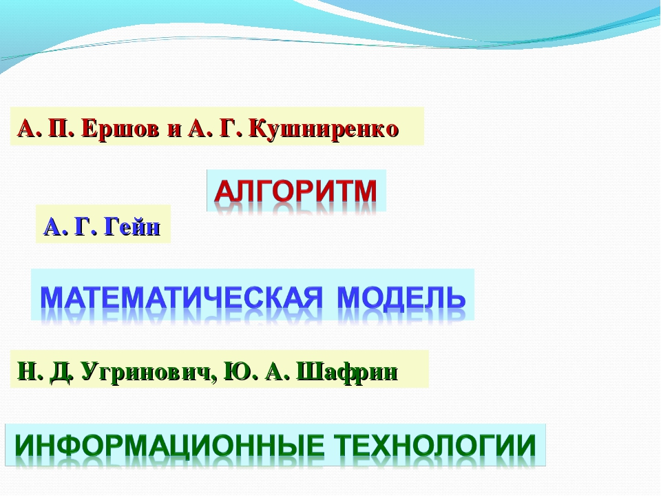 А. П. Ершов и А. Г. Кушниренко А. Г. Гейн Н. Д. Угринович, Ю. А. Шафрин
