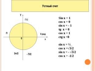 Устный счет х у 0 0 рад П/2 П - П/2 3п/2 Sin x = 1 cos x = 0 sin x = - 1 tg x