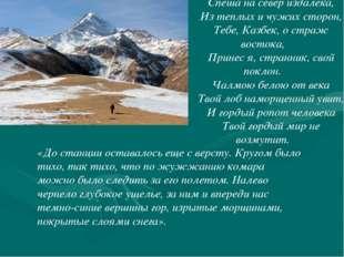 *** Спеша на север издалека, Из теплых и чужих сторон, Тебе, Казбек, о страж