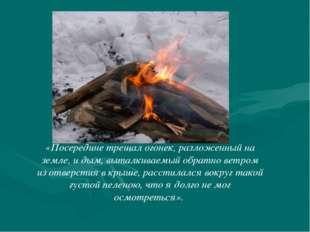 «Посередине трещал огонек, разложенный на земле, и дым, выталкиваемый обратно