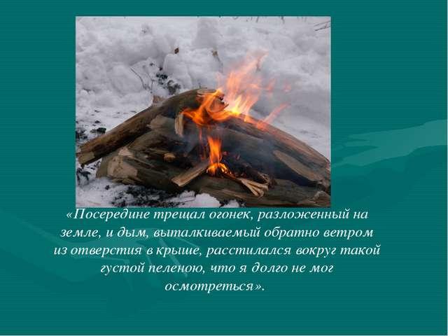 «Посередине трещал огонек, разложенный на земле, и дым, выталкиваемый обратно...