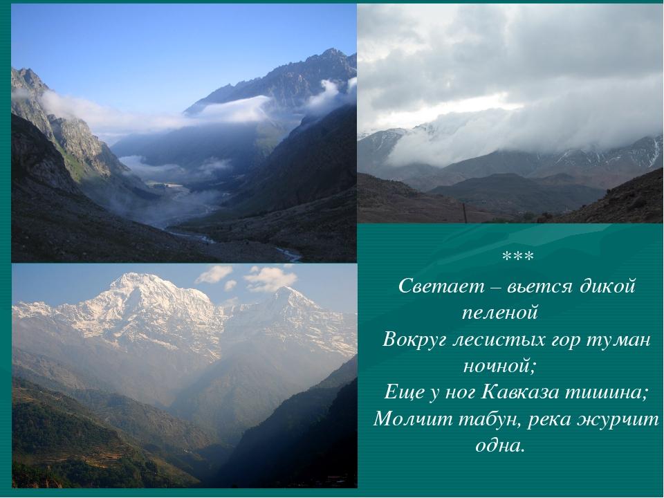 *** Светает – вьется дикой пеленой Вокруг лесистых гор туман ночной; Еще у но...