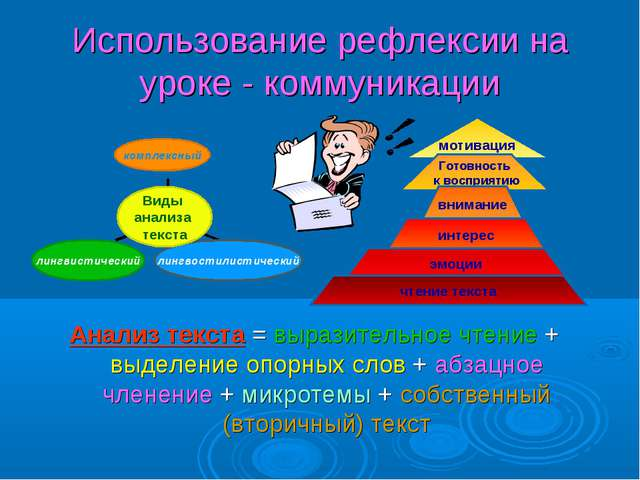 Использование рефлексии на уроке - коммуникации Анализ текста = выразительное...