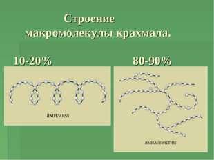 Строение макромолекулы крахмала. 10-20% 80-90%