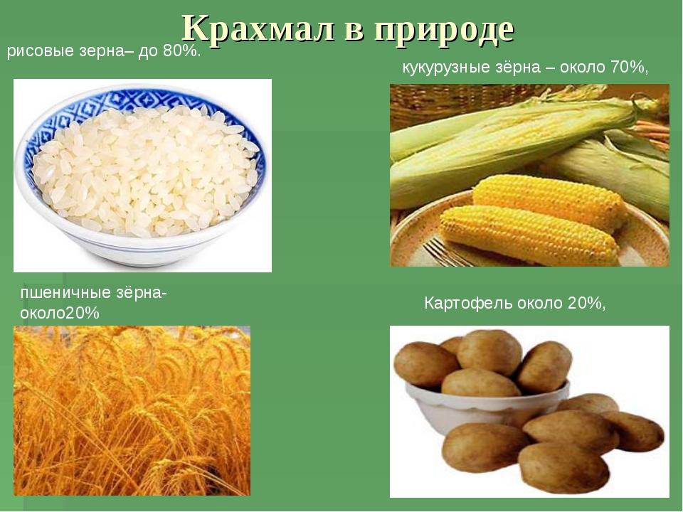 Крахмал в природе Картофель около 20%, рисовые зерна– до 80%. пшеничные зёрна...