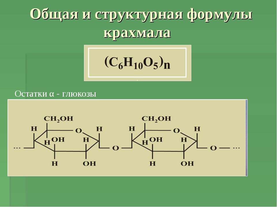 Общая и структурная формулы крахмала Остатки α - глюкозы