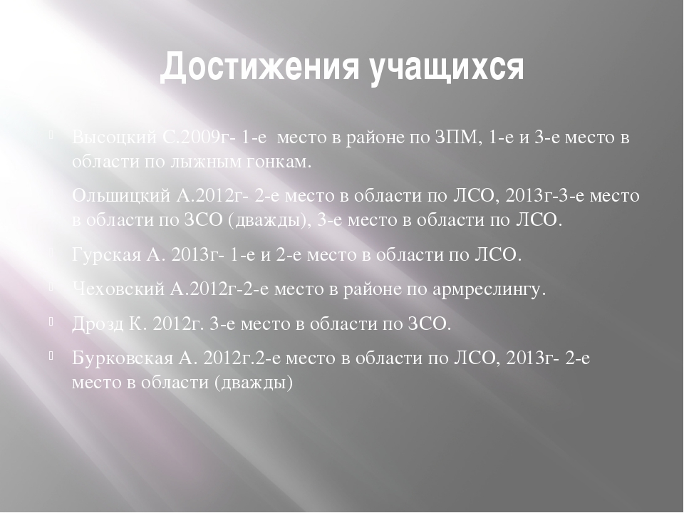 Достижения учащихся Высоцкий С.2009г- 1-е место в районе по ЗПМ, 1-е и 3-е ме...