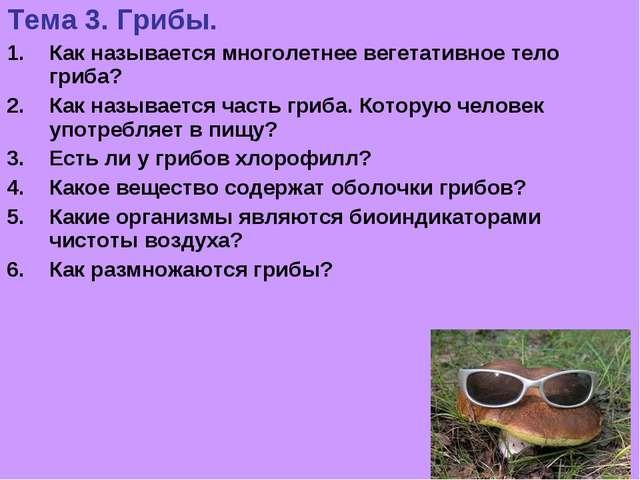 Тема 3. Грибы. Как называется многолетнее вегетативное тело гриба? Как называ...