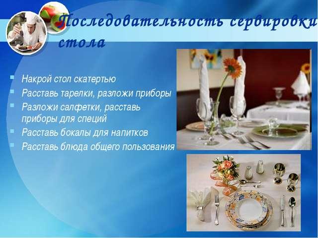 Последовательность сервировки cтола Накрой стол скатертью Расставь тарелки, р...