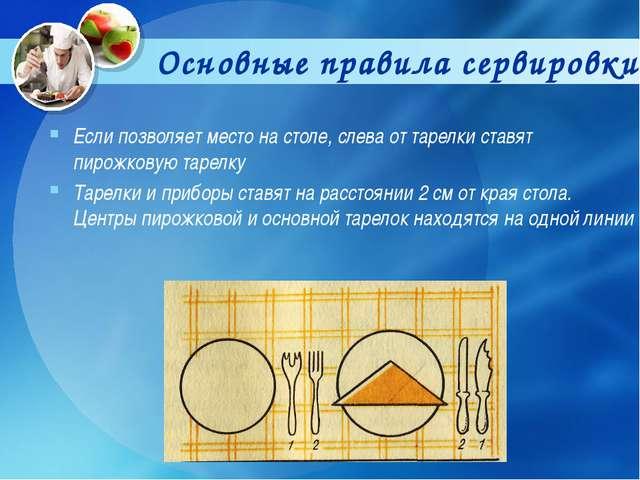 Основные правила сервировки Если позволяет место на столе, слева от тарелки с...