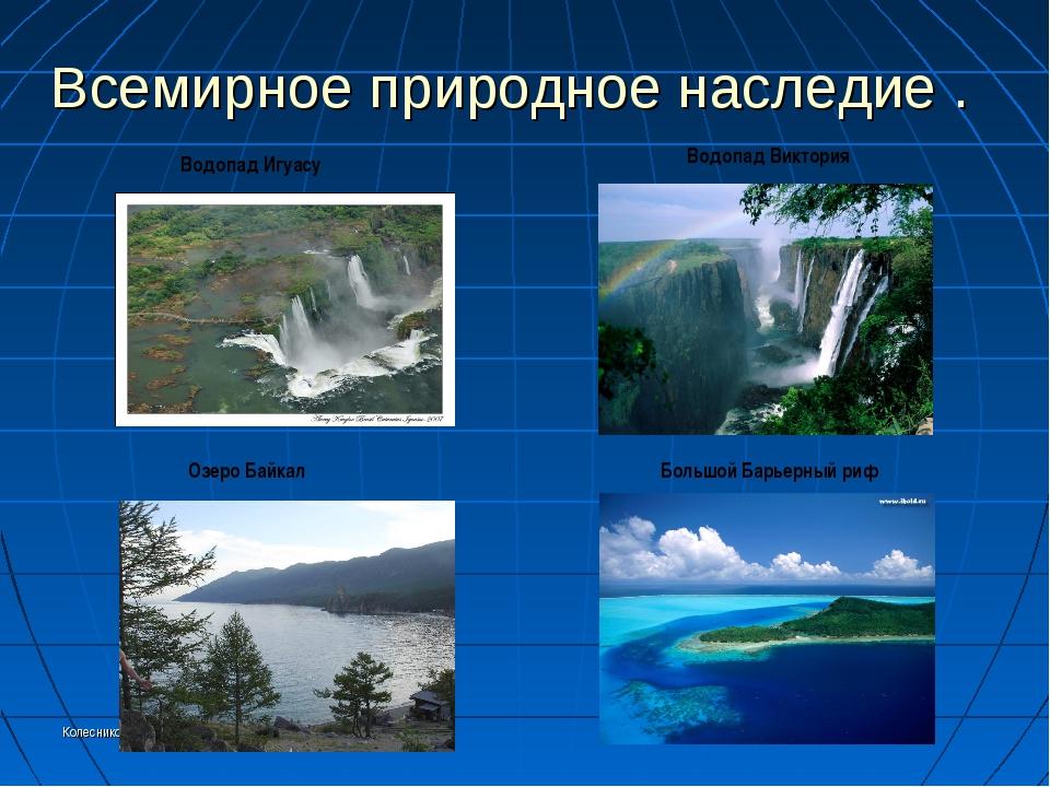 Колесникоова А.А. Всемирное природное наследие . Водопад Игуасу Водопад Викто...