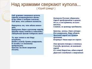 Над храмами сверкают купола... ( Юрий Шмидт ) Колокола Россию сберегали, Нар