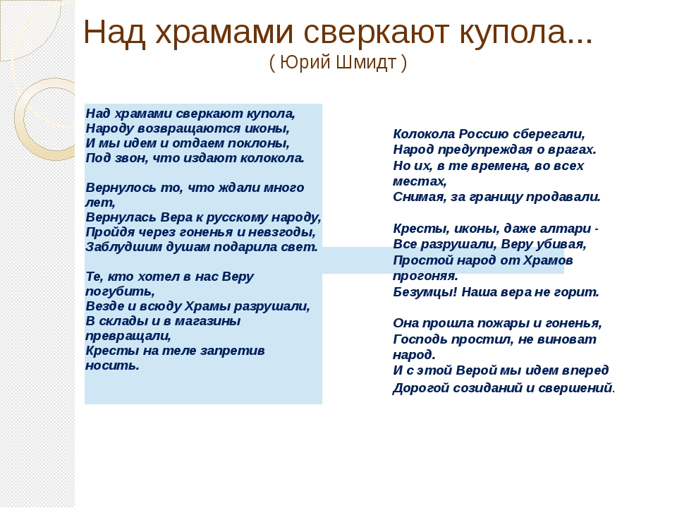 Над храмами сверкают купола... ( Юрий Шмидт ) Колокола Россию сберегали, Нар...
