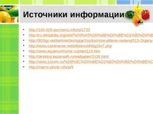 Источники информации http://100-000-pochemu.info/id/1733 http://ru.wikipedia.