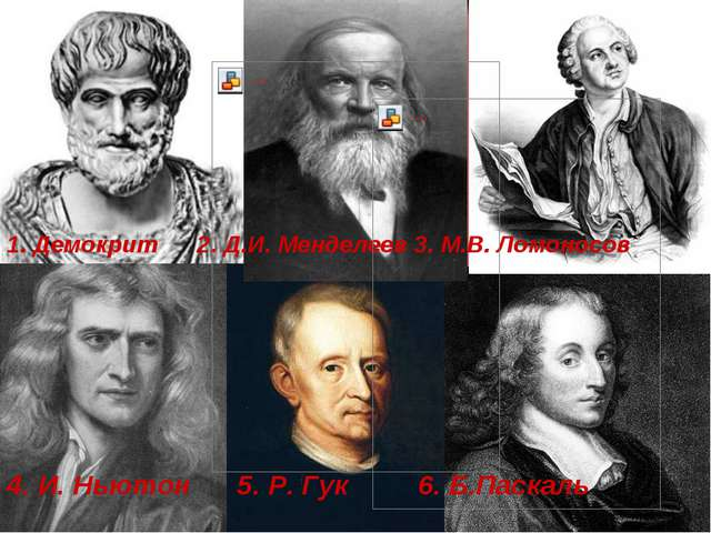 1. Демокрит 2. Д.И. Менделеев 3. М.В. Ломоносов 4. И. Ньютон 5. Р. Гук 6. Б....