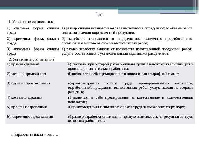 Тест 1. Установите соответствие: 2. Установите соответствие 3. Заработная пла...