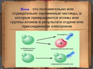 Ионы - это положительно или отрицательно заряженные частицы, в которые превра