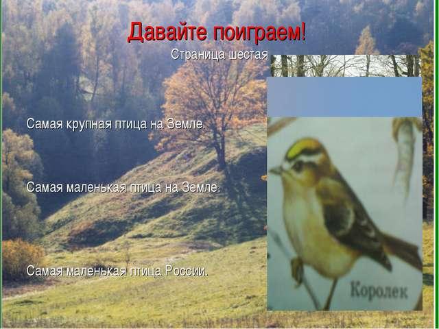 Давайте поиграем! Страница шестая Самая крупная птица на Земле. Самая маленьк...