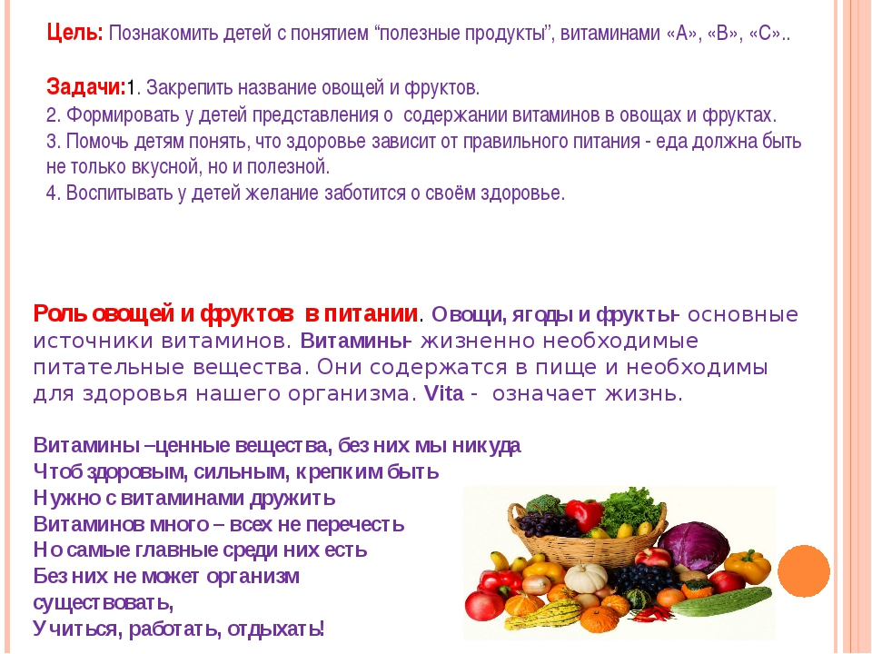 """Цель:Познакомить детей с понятием """"полезные продукты"""", витаминами«А», «В»,..."""