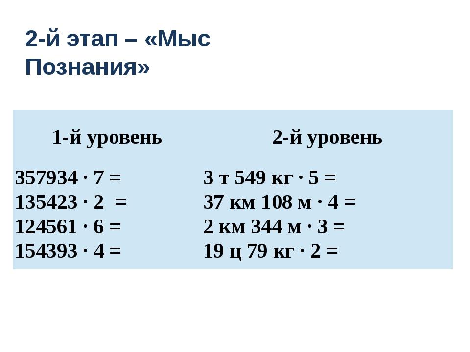 2-й этап – «Мыс Познания» 1-й уровень 2-й уровень 357934 · 7= 135423 · 2= 12...