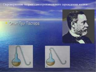 Опровержение теории самопроизвольного зарождения жизни Опыт Луи Пастера