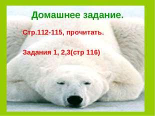 Домашнее задание. Стр.112-115, прочитать. Задания 1, 2,3(стр 116)