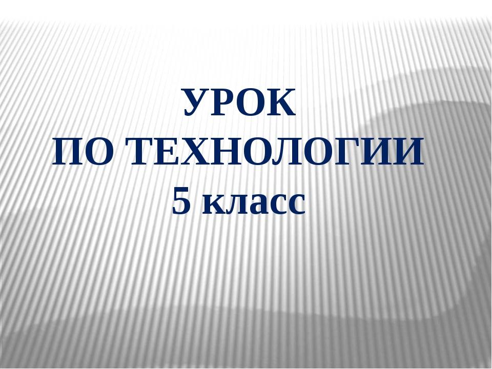 УРОК ПО ТЕХНОЛОГИИ 5 класс