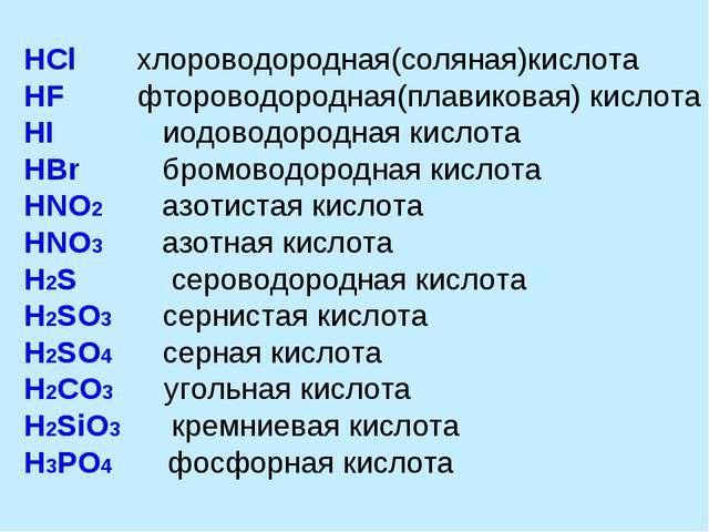 HCl хлороводородная(соляная)кислота HF фтороводородная(плавиковая) кислота...