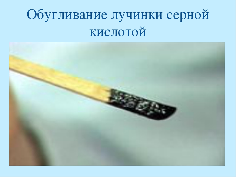 Обугливание лучинки серной кислотой