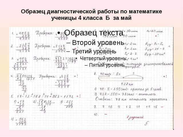 Образец диагностической работы по математике ученицы 4 класса Б за май