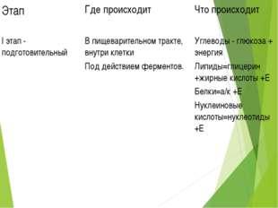 Этап Где происходит Что происходит I этап - подготовительный В пищеварител