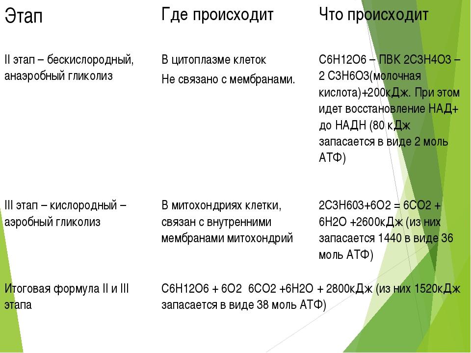 Этап Где происходит Что происходит II этап – бескислородный, анаэробный гли...