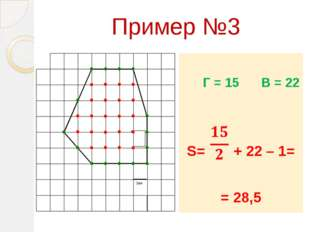Пример №3 Г = 15 В = 22 S= + 22 – 1= = 28,5