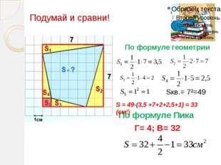 По формуле Пика Г= 4; В= 32 По формуле геометрии Sкв.= 7²=49 S = 49-(3,5 +7+2