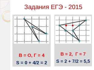Задания ЕГЭ - 2015 Ььь В = О, Г = 4 S = 0 + 4/2 = 2 В = 2, Г = 7 S = 2 + 7/2