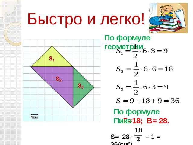 Г=18; В= 28. S= 28+ – 1 = 36(см²) По формуле геометрии По формуле Пика Быстро...