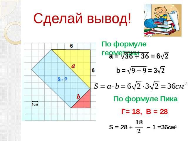 Г= 18, В = 28 S = 28 + – 1 =36см² По формуле геометрии По формуле Пика Сдела...