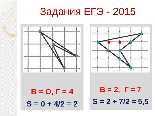 Задания ЕГЭ - 2015 Ььь В = О, Г = 4 S = 0 + 4/2 = 2 В = 2, Г = 7 S = 2 + 7/2...