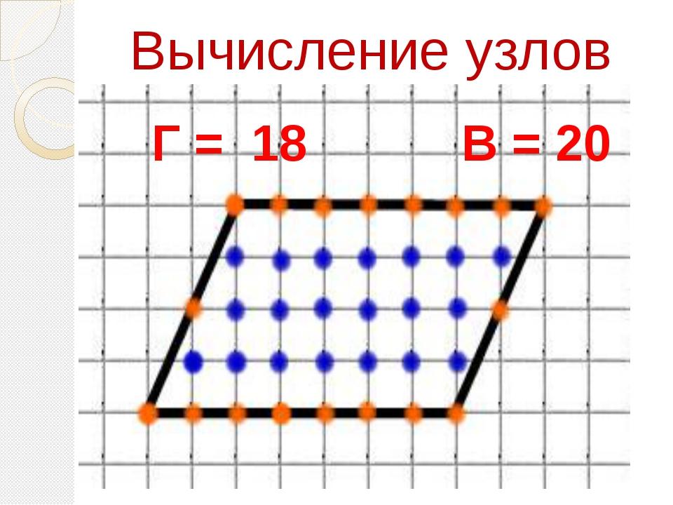 Вычисление узлов Г = 18 В = 20