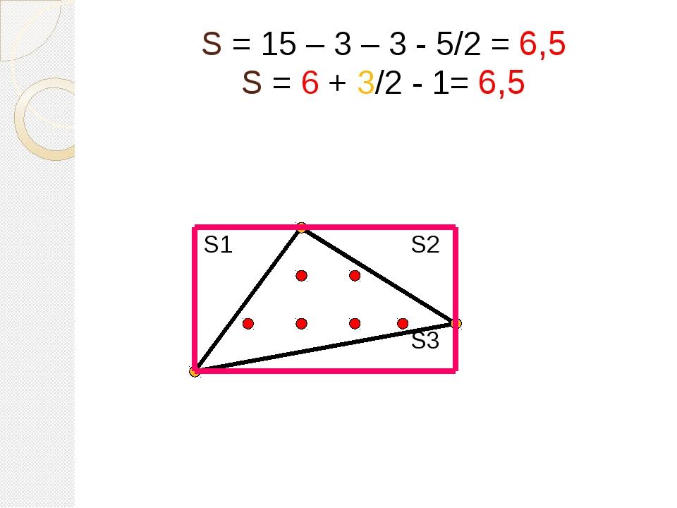 S = 15 – 3 – 3 - 5/2 = 6,5 S = 6 + 3/2 - 1= 6,5 S1 S2 S3