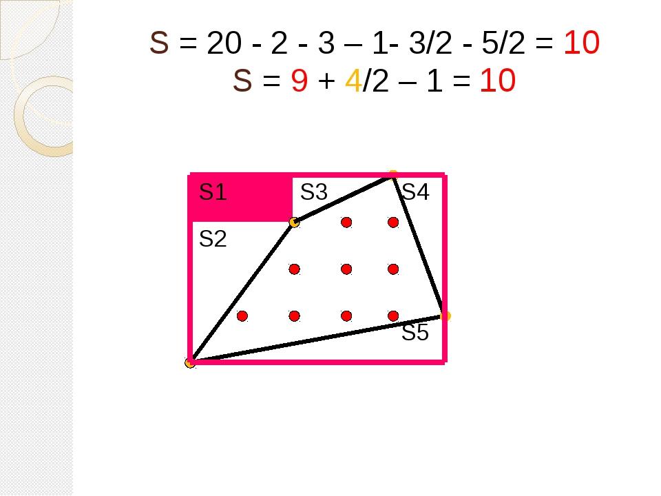S = 20 - 2 - 3 – 1- 3/2 - 5/2 = 10 S = 9 + 4/2 – 1 = 10 S1 S3 S4 S2 S5