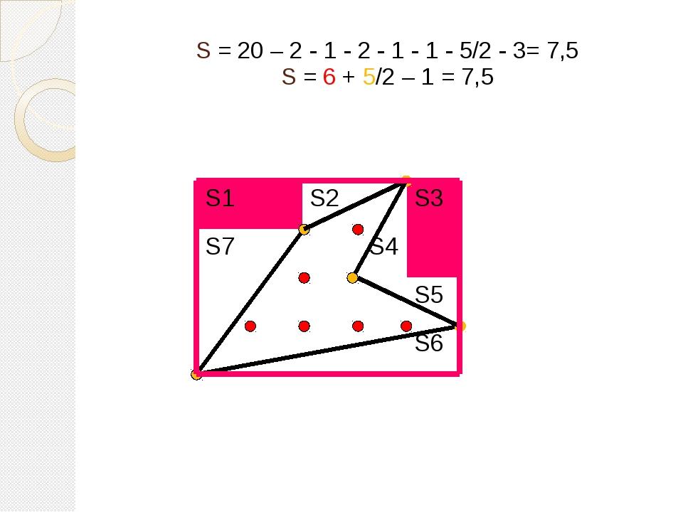 S = 20 – 2 - 1 - 2 - 1 - 1 - 5/2 - 3= 7,5 S = 6 + 5/2 – 1 = 7,5 S1 S2 S3 S7 S...