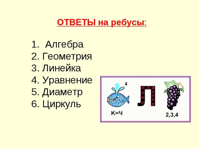 ОТВЕТЫ на ребусы: 1. Алгебра 2. Геометрия 3. Линейка 4. Уравнение 5. Диаметр...