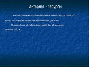 Корзина с яблоками http://www.liveinternet.ru/users/nataliij/post169588267/ Я